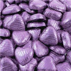 Lilac Foil Chocolate Hearts - 100pk
