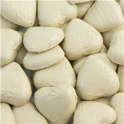 Ivory Foil Chocolate Hearts - Bulk Pack