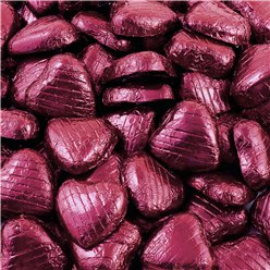 Burgundy Foil Chocolate Hearts - Bulk Pack