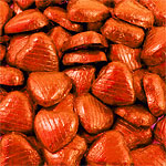 Orange Foil Chocolate Hearts - Bulk Pack