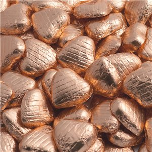 Copper Foil Chocolate Hearts - Bulk Pack