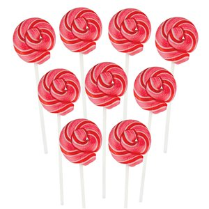 Pink & Red Mini Swirl Bubblegum Flavour Lollipops - 50pk