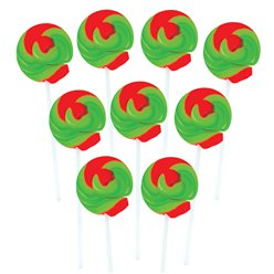 Green & Red Mini Swirl Toffee Apple Flavour Lollipops - 50pk