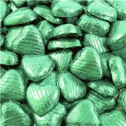 Pale Green Foil Chocolate Hearts - Bulk Pack