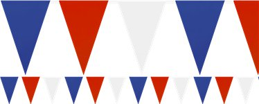 Red, White & Blue Solid Colour Extra Long Plastic Bunting - 36m