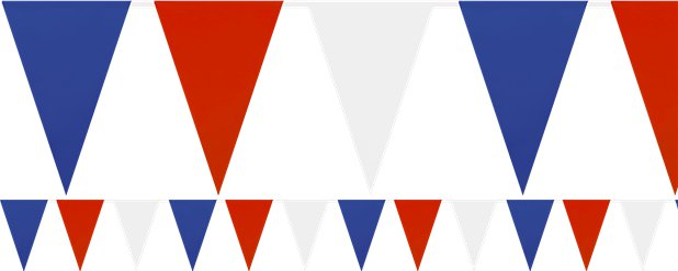 Red, White & Blue Block Colour Plastic Bunting - 36m