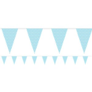 Baby Blue Polka Dot Paper Bunting - 1.7m