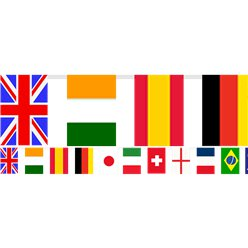 Multi Nations Flags Plastic Bunting - 7m