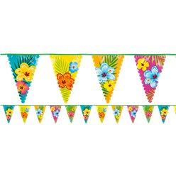 Summer Hibiscus Plastic Bunting - 6m Hawaiian Decoration