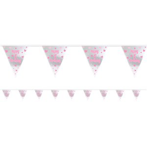 Girl's 1st Birthday Foil Bunting - 3.7m