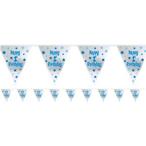 Boy's 1st Birthday Foil Bunting - 3.7m