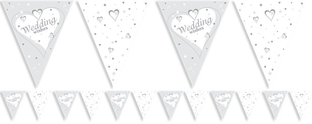 Wedding Wishes Flag Bunting 12ft