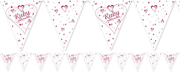 Ruby Anniversary Flag Bunting 12ft