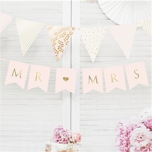 Pastel Pink Mr & Mrs Bunting - 85cm