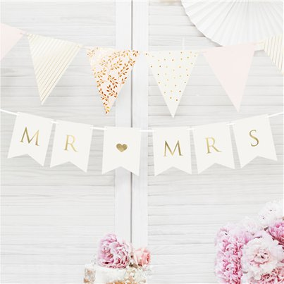 White Mr & Mrs Bunting - 85cm