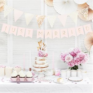 Pastel Pink Just Married Bunting - 1.5m