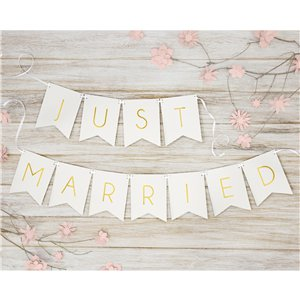 White Just Married Bunting - 1.5m