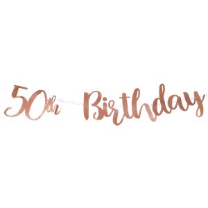 50th Birthday Rose Gold Decoration Kit - Value