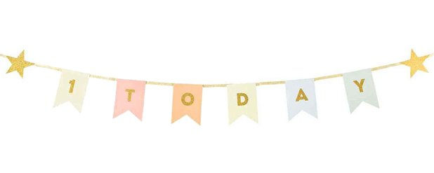 1 Today Gold Glitter Bunting - 1.5m