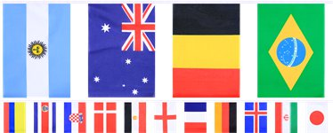 Multi Nations Flag Bunting - 9.9m - Polyester Bunting
