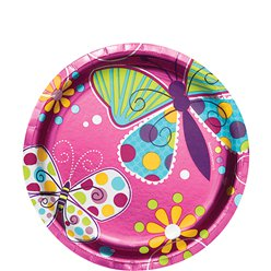 Butterfly Sparkle Plates - 18cm Metallic Paper Party Plates