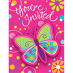 Butterfly Sparkle Invitations and Envelopes