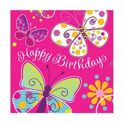 Butterfly Sparkle 'Happy Birthday' Luncheon Napkins - 3ply Paper