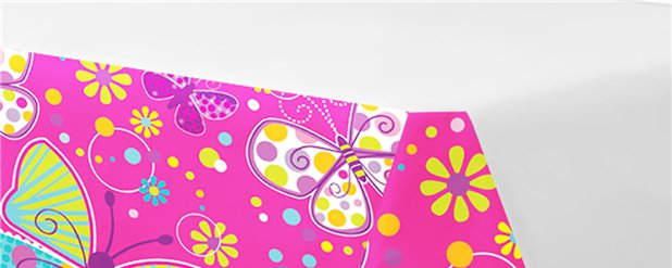 Butterfly Sparkle Plastic Tablecover - 2.7m