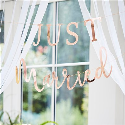 Botanical Wedding Just Married Copper Foiled Bunting - 3m