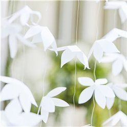 Botanical Wedding White Origami Flower Backdrop - 1.8m