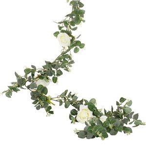 Botanical Wedding Eucalyptus & White Rose Garland - 1.8m