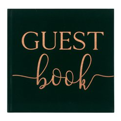 Botanical Wedding Green Velvet Guest Book