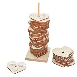 Botanical Wedding Wooden Stacking Heart Guest Book