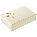Contemporary Heart Ivory/Gold Wedding Cake Boxes