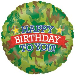 "Holographic Camouflage Birthday Balloon - 18"" Foil"