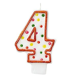4th Birthday Candle - Polka Dot 7.6cm