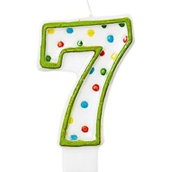7th Birthday Candle - Polka Dot 7.6cm