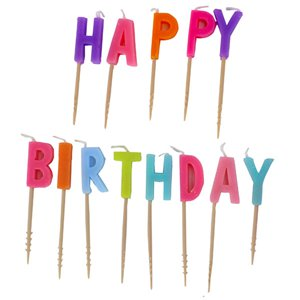 Pastel Colours - Happy Birthday Pick Candles