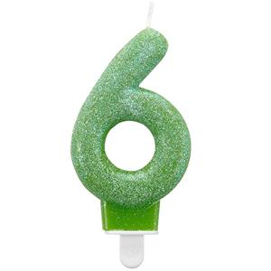 6th Birthday Candle - Green Glitter 7.5cm