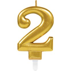 2nd Birthday Candle - Gold 7.5cm