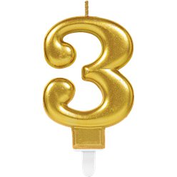 3rd Birthday Candle - Gold 7.5cm