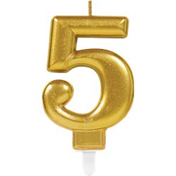 5th Birthday Candle - Gold 7.5cm
