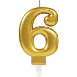6th Birthday Candle - Gold 7.5cm