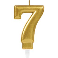 7th Birthday Candle - Gold 7.5cm