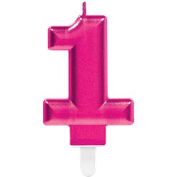 1st Birthday Candle - Pink 7.5cm