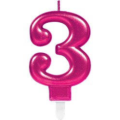 3rd Birthday Candle - Pink 7.5cm