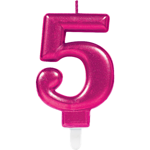 5th Birthday Candle - Pink 7.5cm