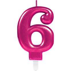 6th Birthday Candle - Pink 7.5cm