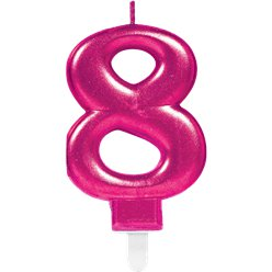 8th Birthday Candle - Pink 7.5cm