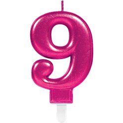 9th Birthday Candle - Pink 7.5cm